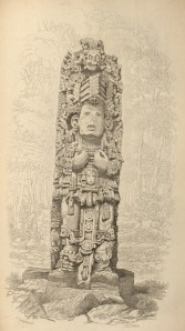 Stone Idol, front view, one of Catherwood's illustrations of a stela of a Maya deity at Copán, from John Lloyd Stephens's Incidents of Travel in Central America, Chiapas, and Yucatán (1841).