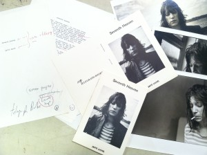 "Patti Smith's ""Seventh Heaven"": A draft, unfolded cover, alternate photograph and a published copy."