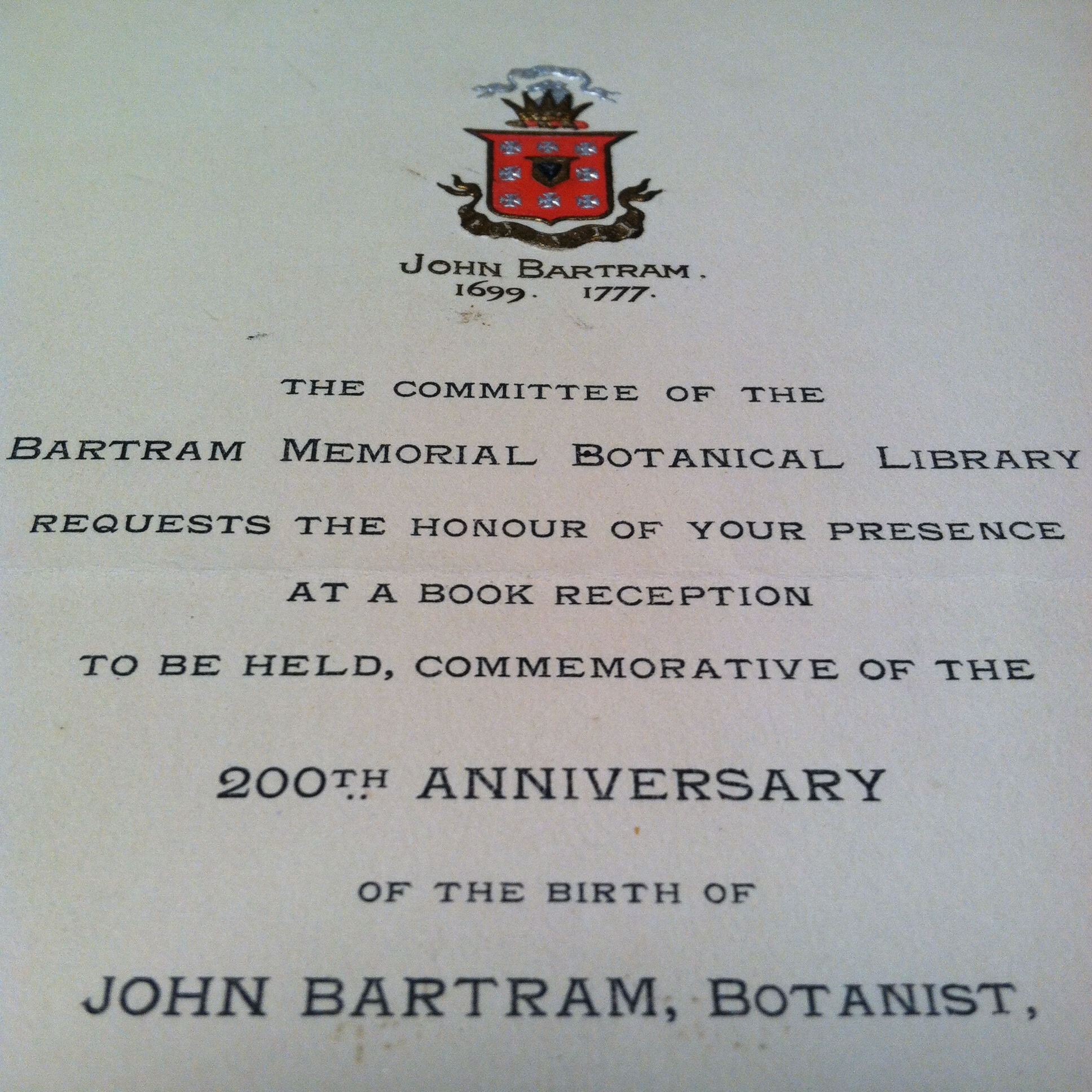 John bartram association records relating to its foundation and an invitation card to john bartrams 200th anniversary 1899 stopboris Choice Image