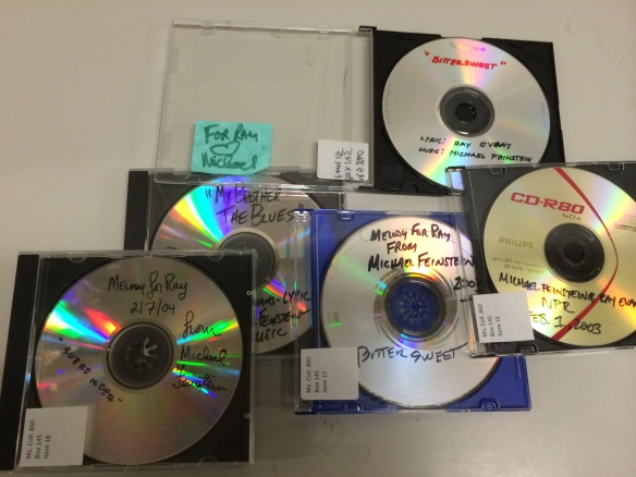 Home-made CDs from Michael Feinstein to Ray Evans. From the Ray Evans papers, Ms. Coll. 860.