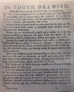 "A 1784 notice accuses a Philadelphia dentist of ""lies, insolence, and a pitiful attempt at wit."""