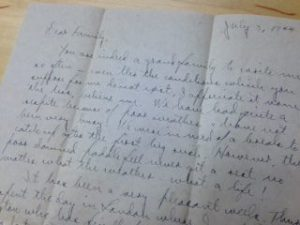 Scull's last letter written to his family, July 3, 1944