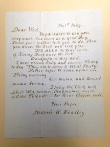 Undated letter from Frederic W. Beasley to his young son, Frederick W. Beasley, Jr.