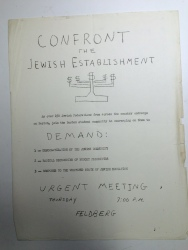 Flyer announcing a meeting of Jewish students at Brandeis University