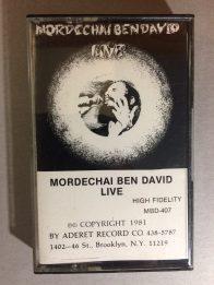Cassette recording of Mordechai Ben David, Live, 1981