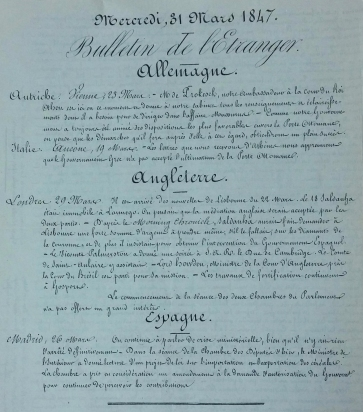 Havas news bulletin from 1847 the Bulletin de l'Etranger
