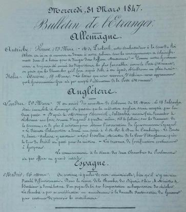 Havas news bulletin from 1847 the Bulletin de l'Etranger