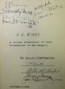 Gift inscription to H.A. Winne from the Kellex Corporation