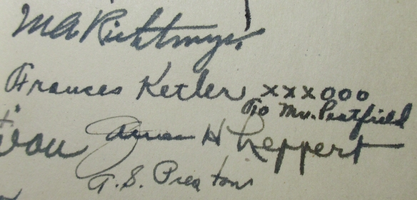"""Signature of Frances Ketler with note: """"XXXOOO To Mrs. Peatfield"""""""