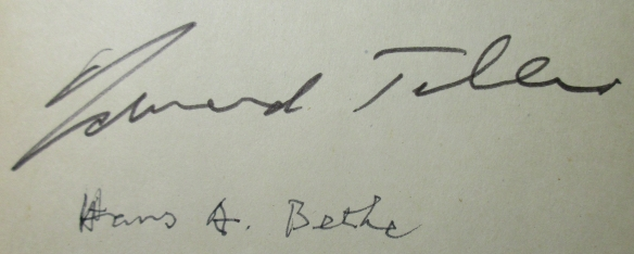 Autographs of Edward Teller and Hans A. Bethe