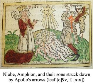 Niobe, Amphion, and their sons struck down by Apollo's arrows (leaf [c]9v, f. [xix])