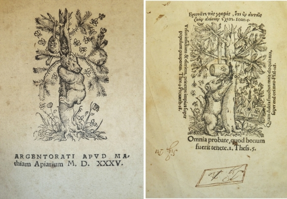 Two printer's devices of Mathias Apiarius featuring a bear raiding the hollow of a pine tree for honey while bees swarm around him