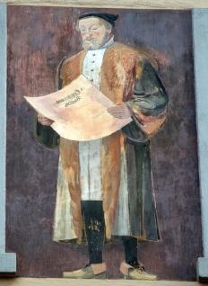 Full-length color portrait of Christoph Froschauer the elder at Brunngasse 18, Zurich, Switzerland