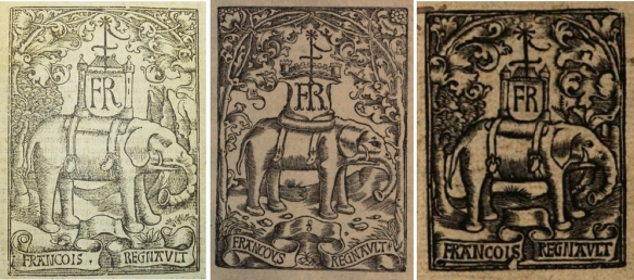 Printer's devices of François Regnault. Left: Renouard no. 940. Center: Renouard no. 941. Right: Renouard no. 942.