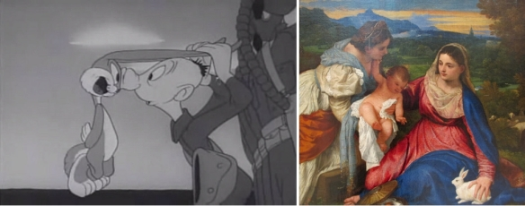 """Rabbits in art, now and then. Left: Extracted image from the film """"Gas,"""" showing Private Snafu meeting Bugs Bunny (1944). Right: """"Madonna del Coniglio"""" (Madonna of the Rabbit) by Titian (ca. 1525-1530), Musée du Louvre."""