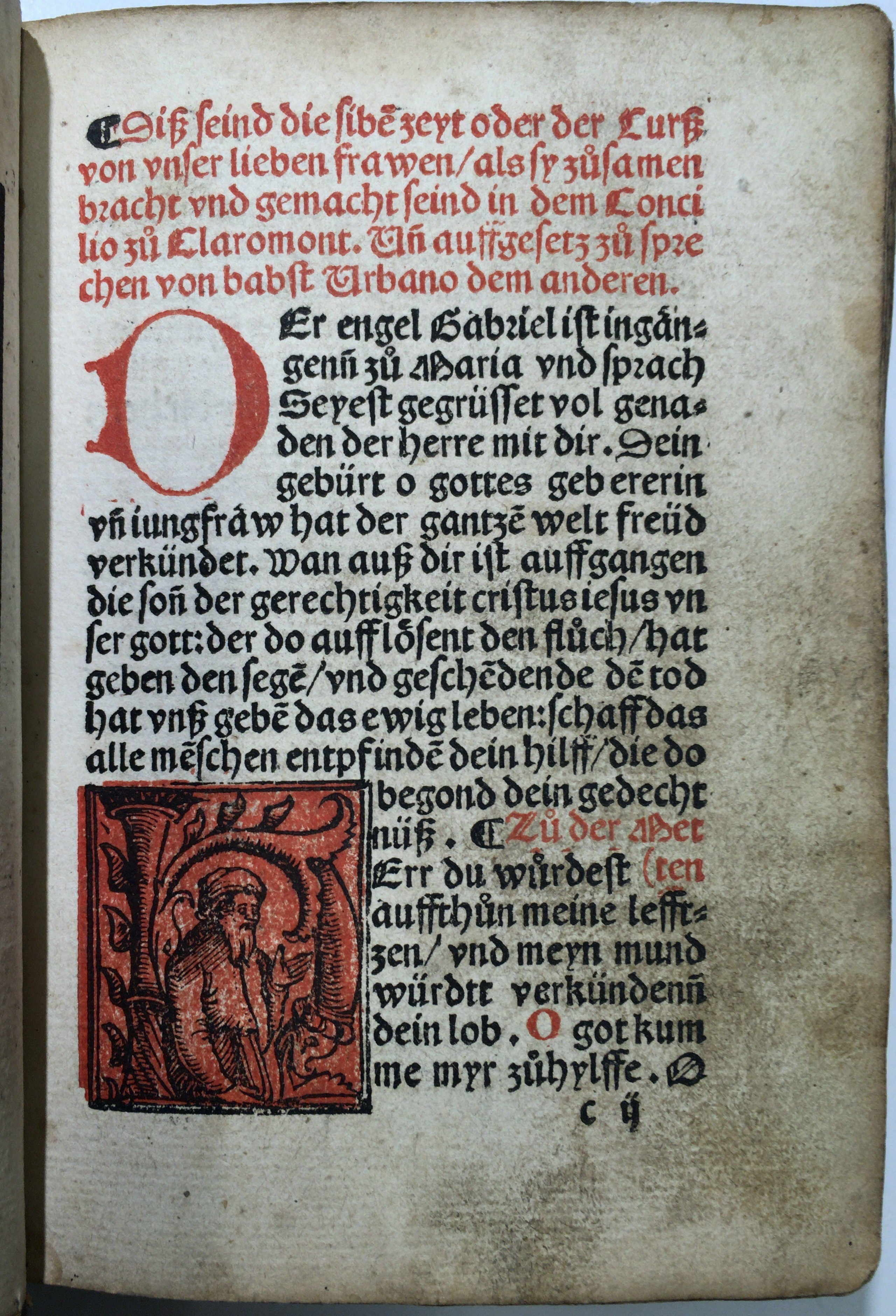 "Leaf c2r of the Lea Library's ""Seelengärtlein"" (Basel?: Pamphilus Gengenbach?, between 1515 and 1520?) with red and black inhabited woodcut initial H."