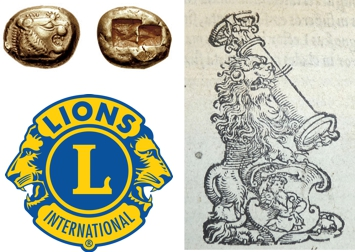 "Top left: Lydian one-third stater electrum coin (early 6th century BCE). Courtesy Classical Numismatic Group, Inc. (CC BY-SA 3.0). Bottom left: Lions Club International emblem. Courtesy Lions Club International. Right: Printer's device of Kraft Müller from ""Psalterium Davidis carmine redditum per Eobanum Hessum"" (1546). Courtesy Provenance Online Project."