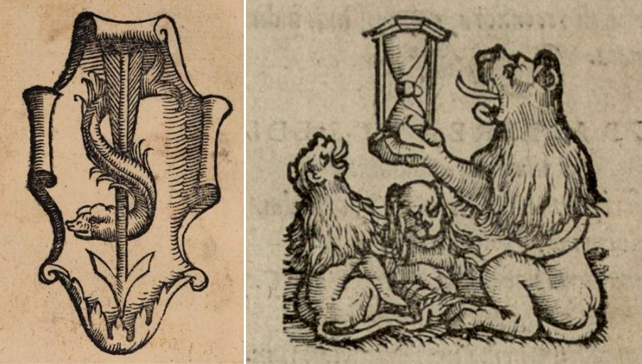 "Left: Printer's device of Bartholomeus Westheimer from ""Aristotelis Insignis Philosophi Libelli Duo"" (1536). Right: Printer's device of Nikolas Brylinger from ""C. Julii Caesaris Commentarii"" (1539)."