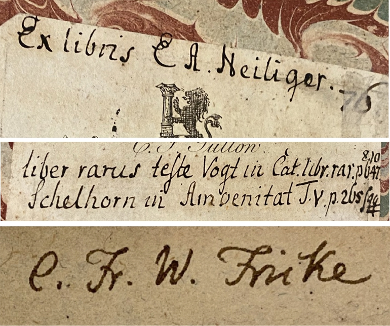 Top: Details of ownership inscription and bibliographical notes of E.A. Heiliger on armorial bookplate of C.J. Sullow. Bottom: Autograph of C. Fr. W. Fricke.