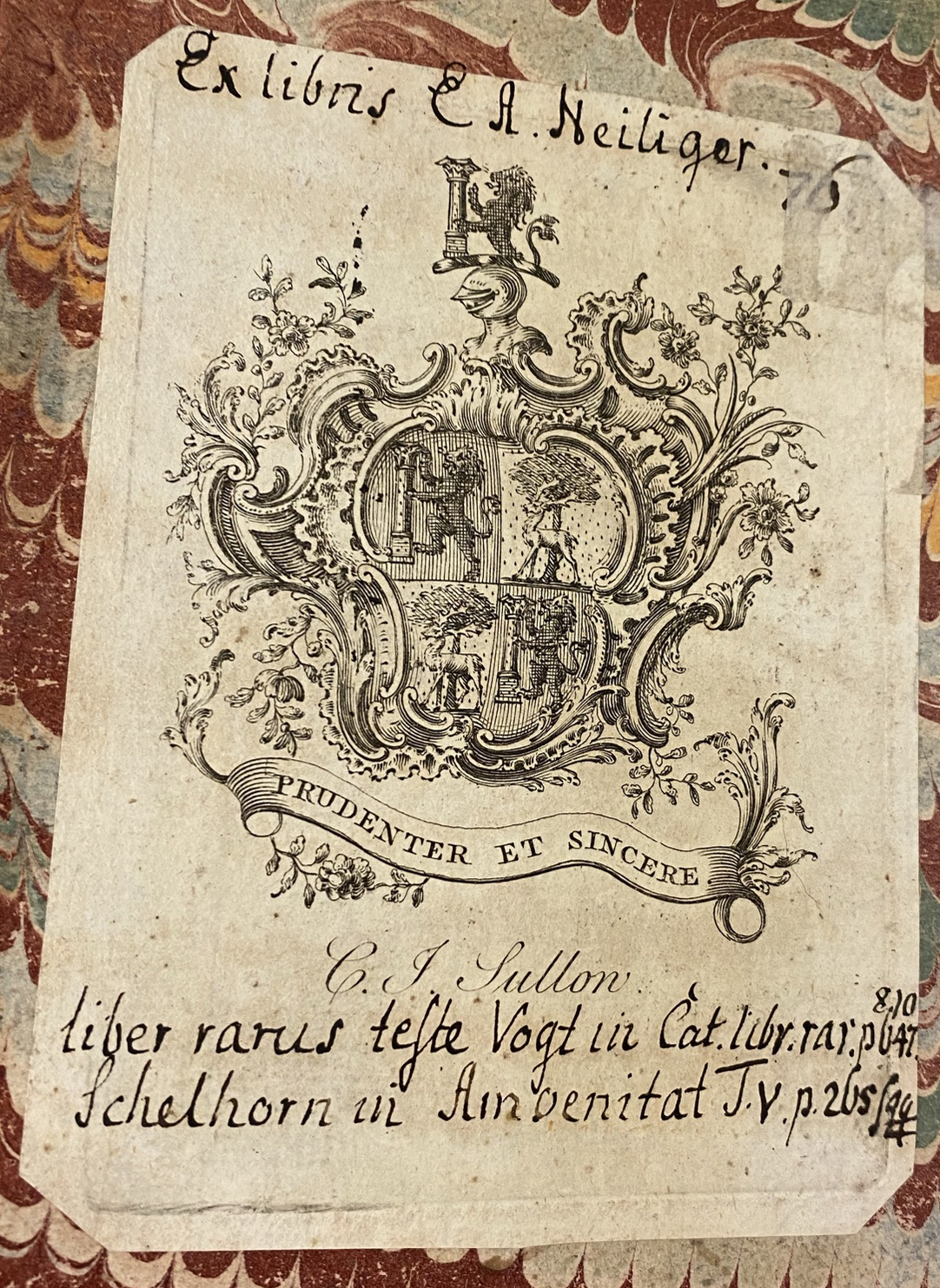 Armorial bookplate of C.J. Sullow with ex-libris and notes of E.A. Heiliger