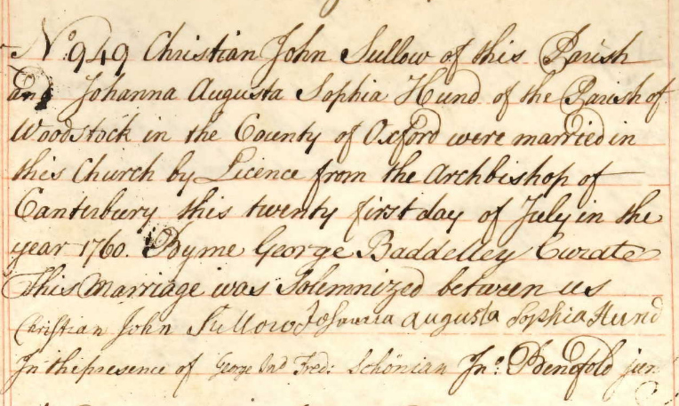 Record of the marriage of Christian John Sullow and Johanna Augusta Sophia Hund in London on 21 July 1760