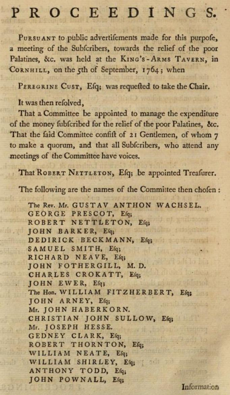 """Minutes of """"a meeting of the Subscribers, towards the relief of the poor Palatines, &c. ... on the 4th of September, 1764"""" which appointed the committee to manage the relief funds, including the names of the committee members (among them """"Christian John Sullow, Esq;"""")"""