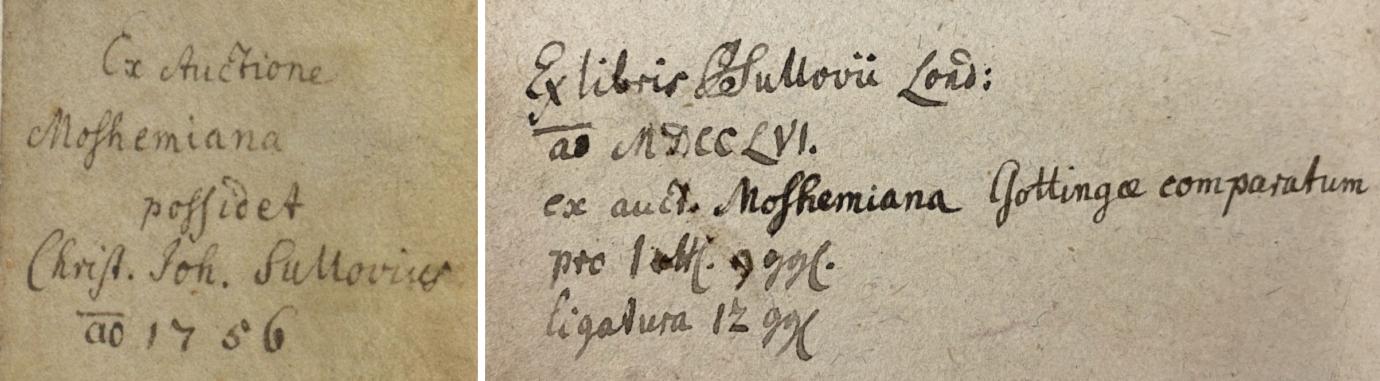 "Left: C.J. Sullow's purchase note in a manuscript prayer book illustrated by Nikolaus Glockendon (Germanisches Nationalmuseum Hs. 198448). Right: C.J. Sullow's purchase note in the Kislak Center copy of ""De Perenni Philosophia Libri X."""
