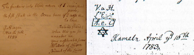 Left: Autograph of C. J. Sullow in the album of Gábor Perlaki. Right: Detail of C. J. Sullow's autograph in the album of Carl Sievers.