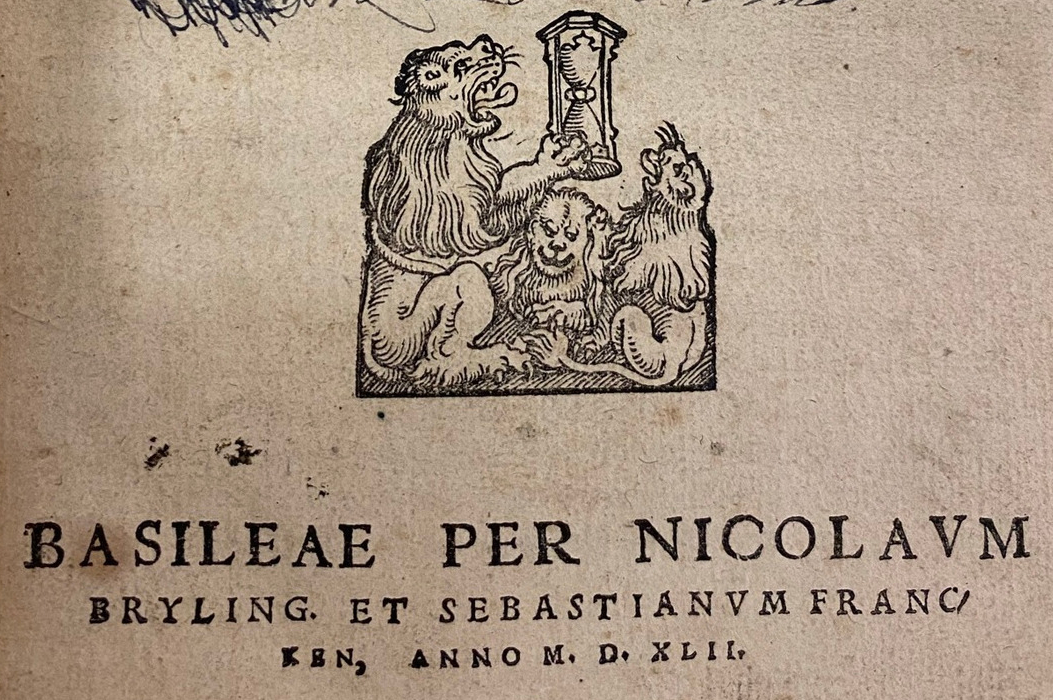 "Printer's device of Nikolas Brylinger (""Basler Büchermarken"" no. 171 (IV)) from title leaf of Agostino Steuco's ""De Perenni Philosophia Libri X"" (1542)"
