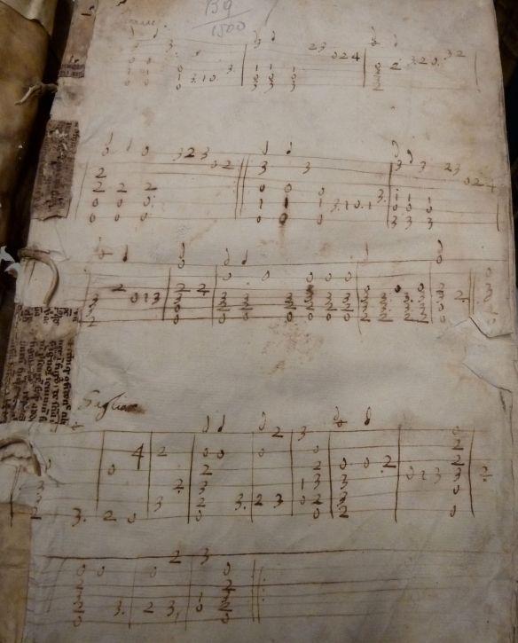 """Front pastedown of the Kislak Center's copy of """"Problematum Aristotelis Sectiones Duaequadraginta : Problematum Alexandri Aphrodisiei Libri Duo"""" (1537) with manuscript Italian lute tablature (ca. 1600?)."""